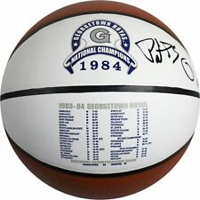 Patrick Ewing Signed Georgetown Hoyas 1984 National Champions Stat Logo Baden Ba