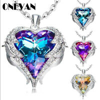 Silver Angel Wings Heart Crystal Pendant Necklace Crystals Best Gifts for Women