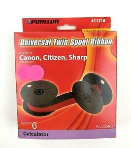 Porelon 11216 Universal Twin Spool Calculator Ribbon Canon Citizen Sharp 6 Pack