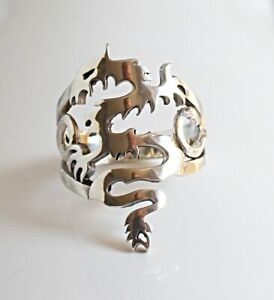 Sterling Silver Openwork Dragon Design Band Ring UK Size O½  US 7½  6.2 grams