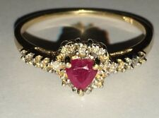 10K SOLID YELLOW GOLD DIAMOND AND RUBY RING