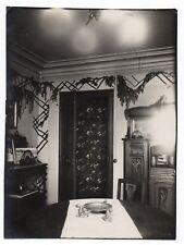 PHOTO ANCIENNE Porte Salle à manger Buffet Flash Tapisserie Vers 1930 Lumière
