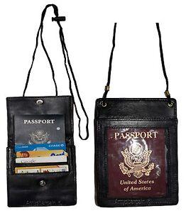 Lot of 2 Passport case. Leather neck string passport case, wallet w/neck string