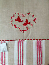 Linen Red Embroidered French Provincial Table Cloth 210 x 150 cm
