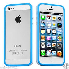 Apple iPhone 5 TPU HYBRID BUMPER w/ METAL BUTTONS ACCESSORY BLUE/WHITE