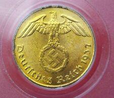 PCGS MS-65 NAZI SWASTIKA 1937-A  5 ReichsPfennig COIN-Germany 3rd REICH  MINT!