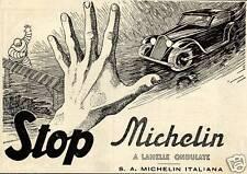 PUBBLICITA' 1936 MICHELIN BIBENDUM GOMME PNEUMATICI A LAMELLE AUTO VELOCITA'