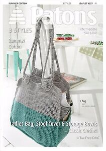 Hand CROCHET PATTERN ONLY Patons Ladies Bag Stool Cover & Storage Bowls 4077