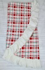 Anthropologie Tablecloth Red Green Plaid Ruffle Christmas Shabby Chic Round New