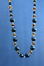 Gorgeous honey amber marbled givre glass & faceted Black bead  NECKLACE