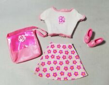 Barbie Outfit Genuine Clothes Clothing Pink Floral Skirt Top Shoes & Bag