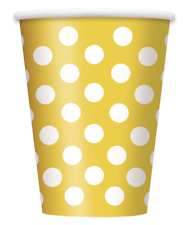 More details for 120x durable premium quality big polka dot 7oz paper party, diy and holiday cups