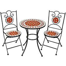 Conjunto de muebles de jardín mosaico mesa con sillas terraza metal cerámica