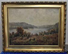 """F. Kalkofen """"Hügelige Landschaft mit See"""", Öl, signiert"""