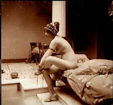 French stereo photo - Nude model in ancient Greek setting