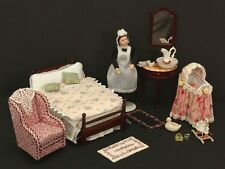 Bedroom Set Maid Baby Bassinet Bed Mirror Stand Chair Doll House Miniatures