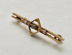 15ct gold pearl & diamond brooch
