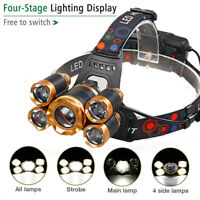 150000Lumens 5-LED Zoomable USB Rechargeable 18650 Headlamp Head Light Torch New