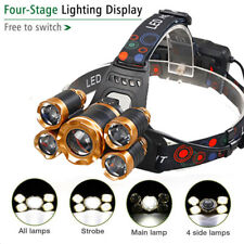 Powerful 5-LED Zoomable USB Rechargeable 18650 Headlamp Head Light Torch New