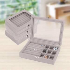 Jewellery Display Storage Box Earring Ring Tray Organiser Holder Velvet Gift UK
