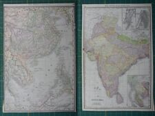 China British India Rand McNally Antique Vintage 1892 World Business Atlas Map