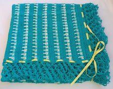 Handmade Crochet Baby Crib Lap Blanket Afghan Green Yellow Boys Girl Twin Ribbon