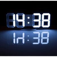 XXL Große weiße Digital-LED-Tisch- & Wanduhr, 7 Segmente, dimmbar, Wecker, 21 cm
