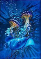 "Dennis Mathewson ""Neptune's Guide"" Original Art - Painting on Metal Framed Huge"