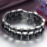 Silver Stainless Steel Black Rubber Motorcycle Biker Chain Link Men Bracelet