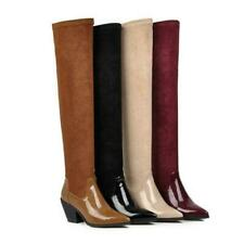 Women Ladies Thigh High Boots Over The Knee Stretch Chunky Low Heel Splice Color
