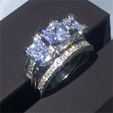 Luxury White Sapphire Love Wedding Ring Set 925 Silver Jewelry Engagement Sz5-12