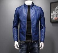 Men Stand Collar PU Leather Zip Slim Fit Jackets Coats Motorcycle Outwear Casual