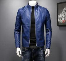 Mens Stand Collar PU Leather Zip Slim Fit Bomber Jackets New Long Sleeve Coats