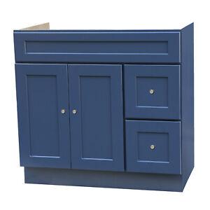 "36"" x 21"" Shaker Blue Bathroom Vanity With Drawers"