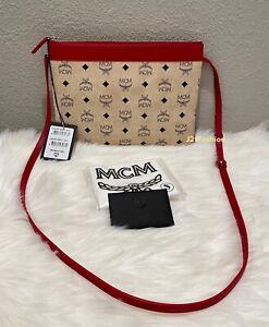 NEW AUTHENTIC MCM Logo Print Clutch/Crossbody Bag Retail $395🌻