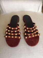 Balenciaga Studded Suede Slide Flat Sandal Shoes Size 38.5 $635.00
