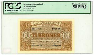 Denmark ...P-36a ... 10 Kroner ... 1944 ... CH*AU-UNC*  PCGS 58 PPQ.