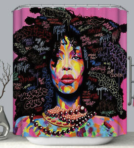 African American Woman Graffiti Art Fabric SHOWER CURTAIN 70x70 Afro Black Hair