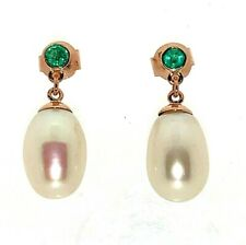 Pearl and Emerald Drop 9ct Rose Gold Dangle Stud Earrings Butterfly