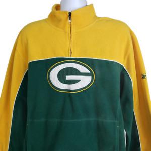 NFL Reebok Green Bay Packers Pullover Fleece 1/4 Zip Sweater Jacket Mens Large