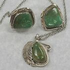 BBT Sterling tribal earrings vintage green turquoise feather pendant