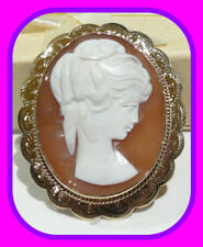 Shell Cameo English Brooch/Pendant 1969 Hm Large Heavy 13.34G Vintage 9Ct Gold