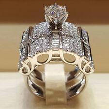 UK 925 Sterling Silver Rhinestone Ring Women Jewelry Wedding Engagement Ring Set