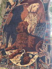 More details for vintage woven? wool? tapestry type throw labrador duck gun dog damaged 125x170cm