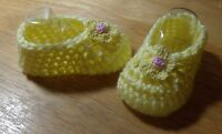 BABY SHOES HANDMADE CROCHET 0-3 MONTHS YELLOW by ROCKY MOUNTAIN MARTY