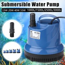 Submersible Aquarium Water Pump Garden Pond Fish Tank Marine Fountain w/ Nozzles