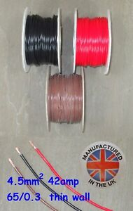 Thin wall cable 4.5mm², (11AWG) 42amp, Auto, Marine, Low Voltage,     TW4.5