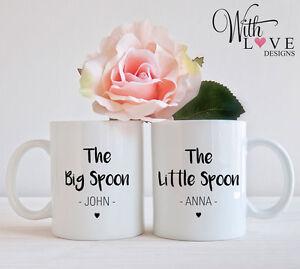 SET OF 2 BIG LITTLE SPOON COUPLES COFFEE MUG TEA CUP WEDDING ENGAGEMENT GIFT