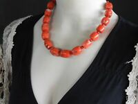 """Vintage Red Coral Necklace Chunky Beaded Statement Solid 925 Sterling Silver 19"""""""