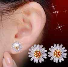 925 Sterling Silver and Gold Flower Stud Earrings Jewellery Ladies Womens Gifts